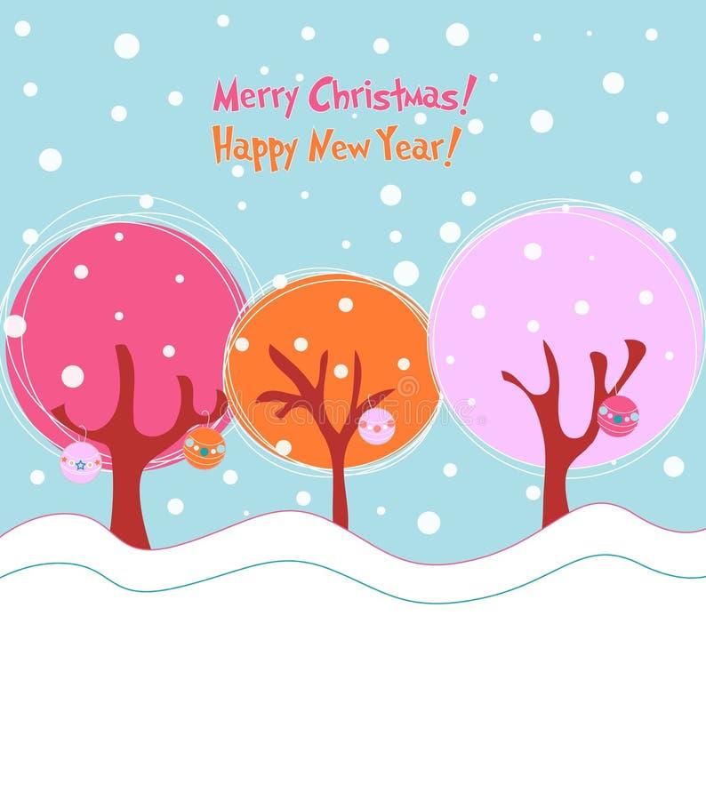 Cartão do inverno, ilustração do Natal ilustração stock