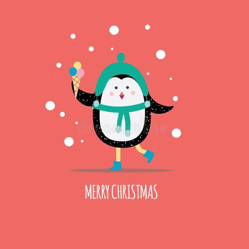 Cartão do inverno do Natal com o pinguim bonito que guarda a ilustração lisa do vetor do gelado ilustração royalty free