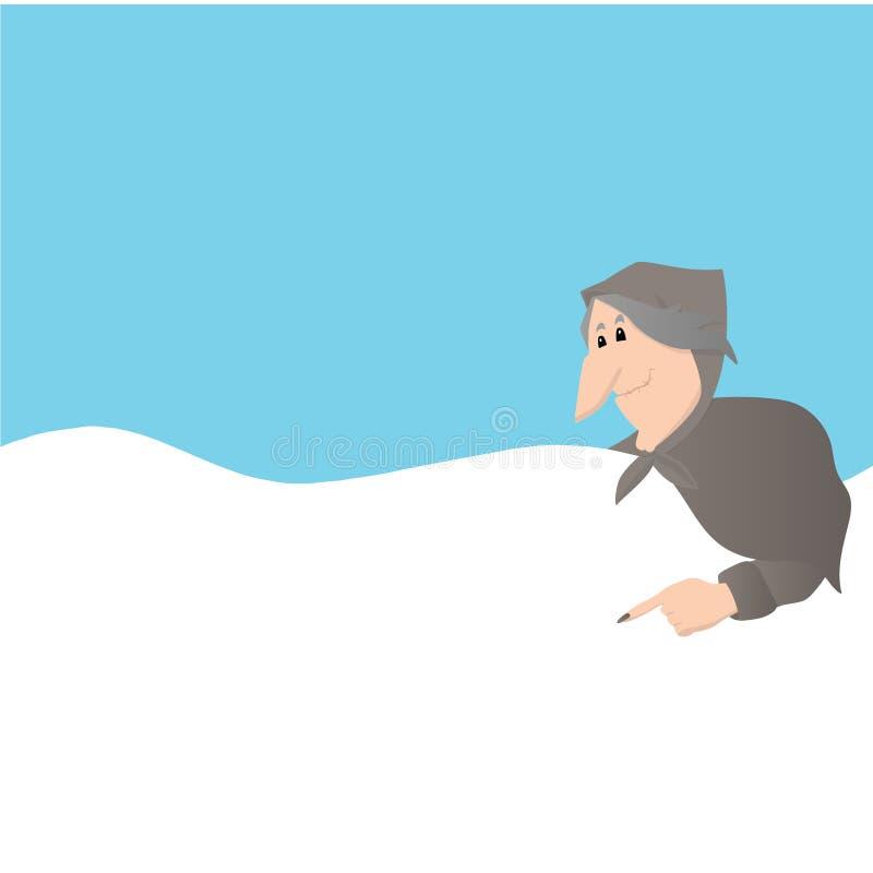 Cartão do italiano do esmagamento dos desenhos animados de Befana ilustração royalty free