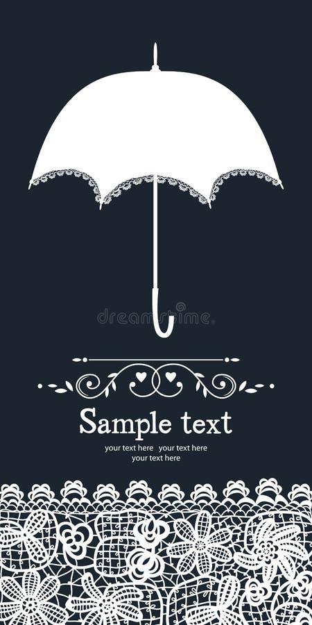 Cartão do laço do guarda-chuva e do vintage ilustração do vetor