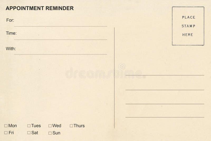 Cartão do lembrete da nomeação foto de stock royalty free