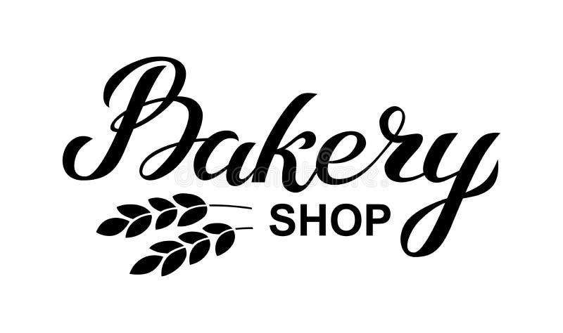 Cartão do logotipo da loja da padaria Ilustração tirada mão do vetor da tipografia, cartaz com as orelhas do trigo molde da bande ilustração stock