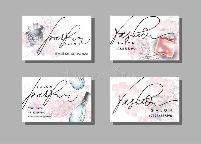 Cartão do maquilhador Molde do vetor com a garrafa de perfume bonita Vetor fotos de stock royalty free