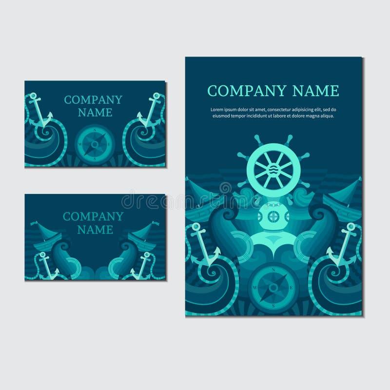 Cartão do mar do vetor Identidade marinha ilustração royalty free