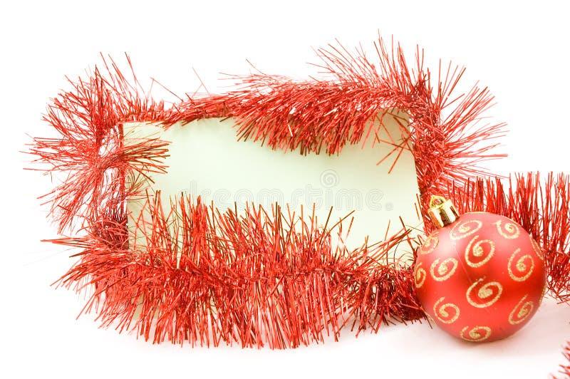 Cartão do memorando com flâmula e esfera do Natal fotografia de stock royalty free