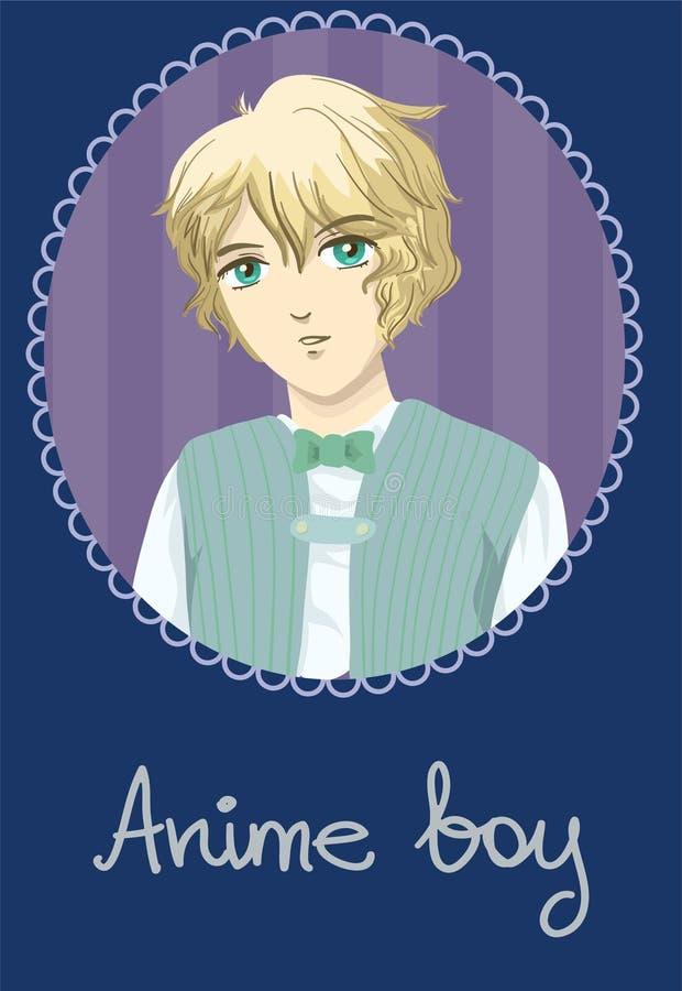 Cartão do menino do Anime fotografia de stock