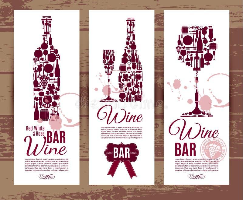 Cartão do menu da barra de vinho ilustração stock