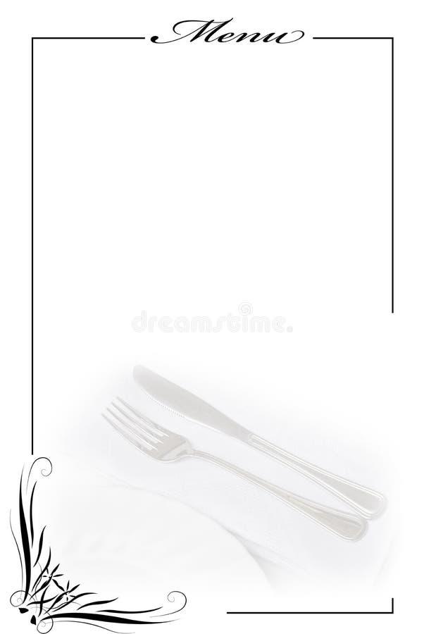 Cartão do menu no branco. imagem de stock