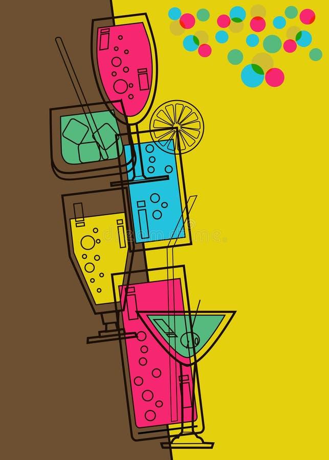 Cartão do menu para a barra ilustração do vetor