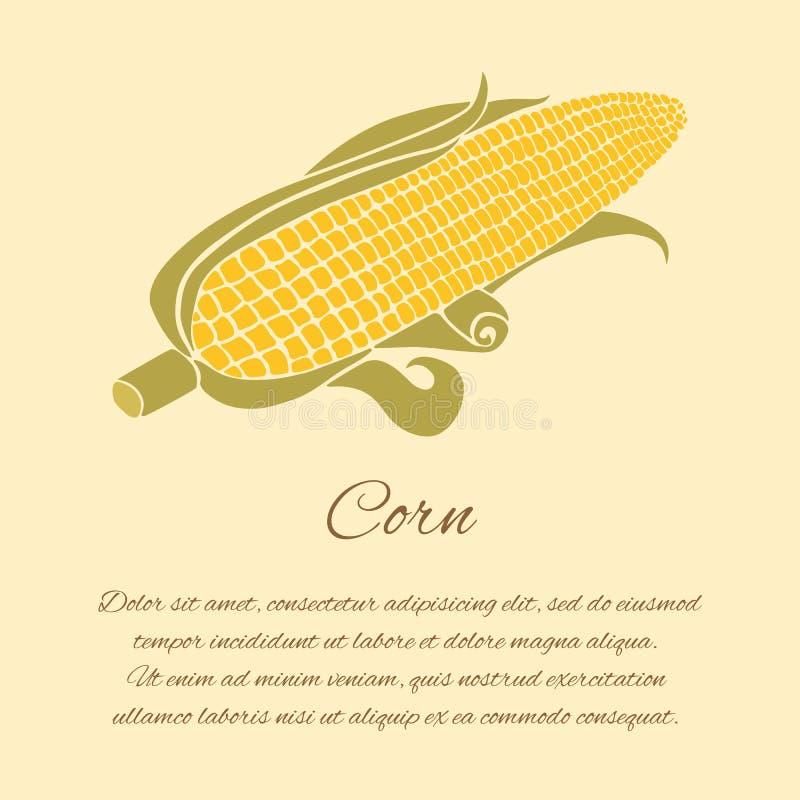 Cartão do milho no fundo brilhante imagem de stock