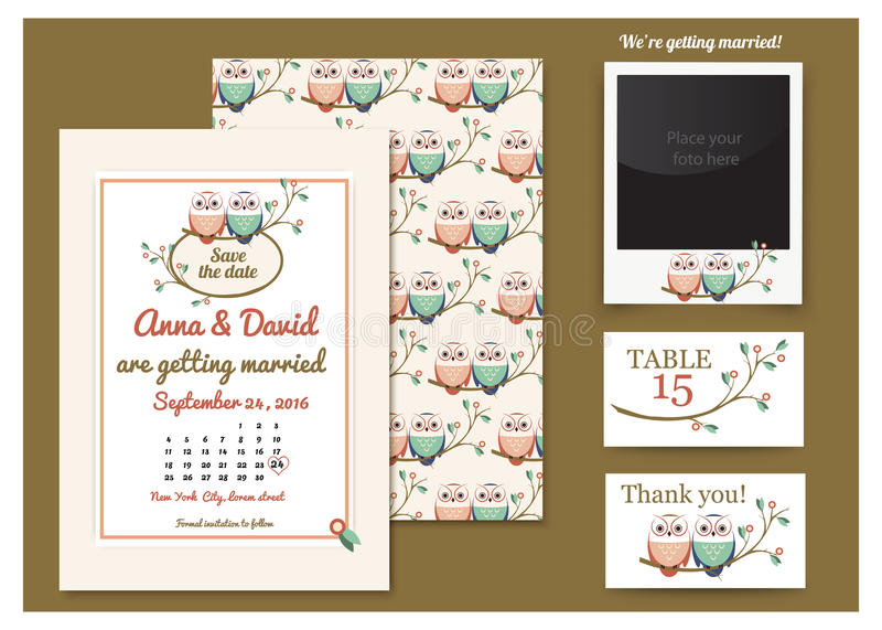 Cartão do molde com corujas em um ramo de árvore ano novo feliz 2007 Pares da coruja do desenho Convite do casamento, obrigado ca ilustração do vetor