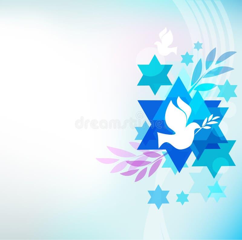 Cartão do molde com símbolos judaicos ilustração stock