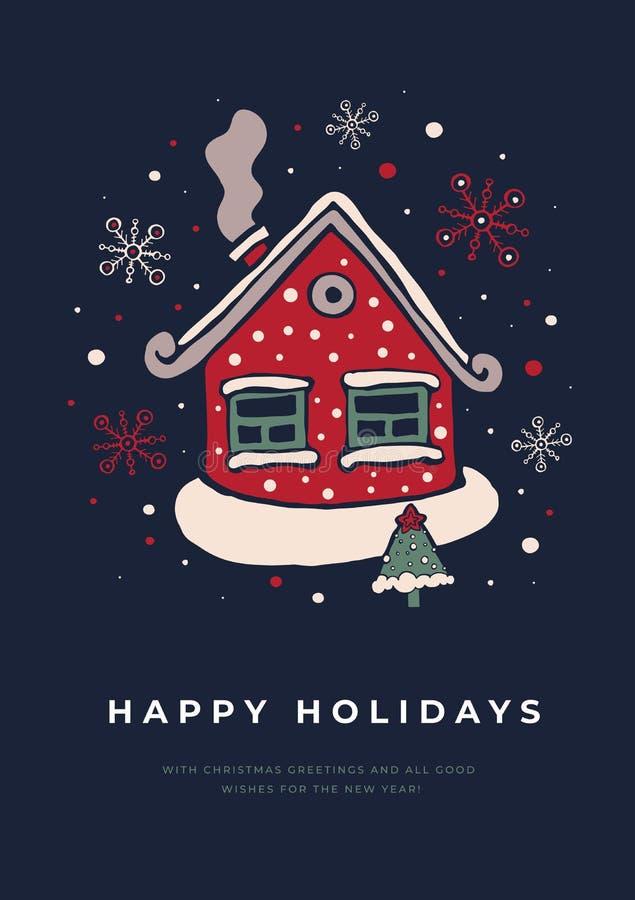 Cartão do molde com uma casa coberto de neve e árvore de Natal em um fundo escuro ilustração stock