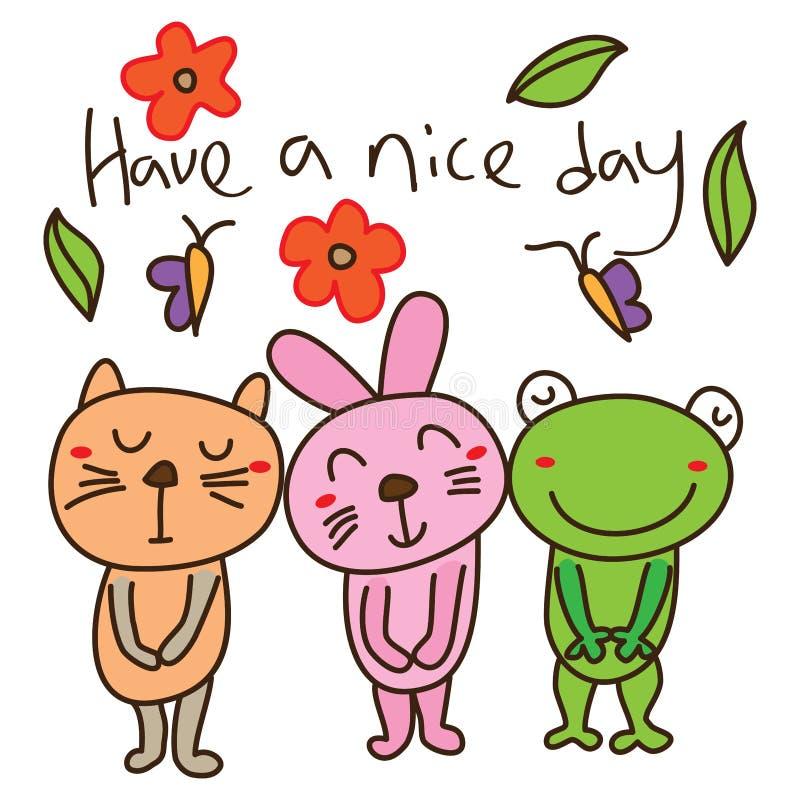 Cartão do molde da rã do coelho do gato ilustração stock