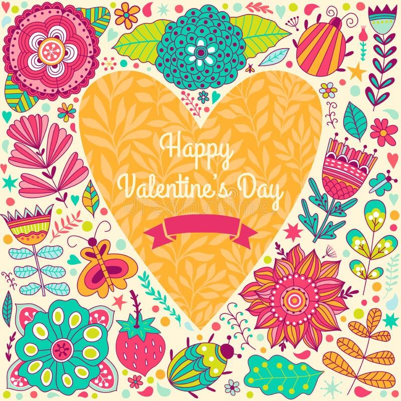 Cartão do molde do Valentim Flores no coração ilustração do vetor