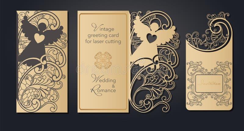 Cartão do molde para o corte do laser Corte a céu aberto do papel, cartão para o casamento, Páscoa, aniversário Mola ilustração do vetor