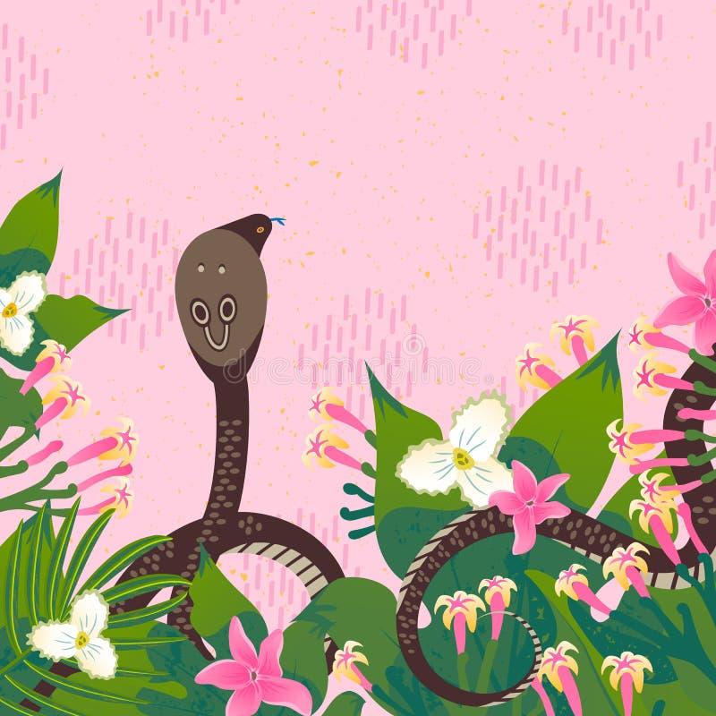 Cartão do molde do projeto com retrato de uma cobra Ícones do estilo dos desenhos animados de uma serpente com folhas tropicais,  ilustração stock