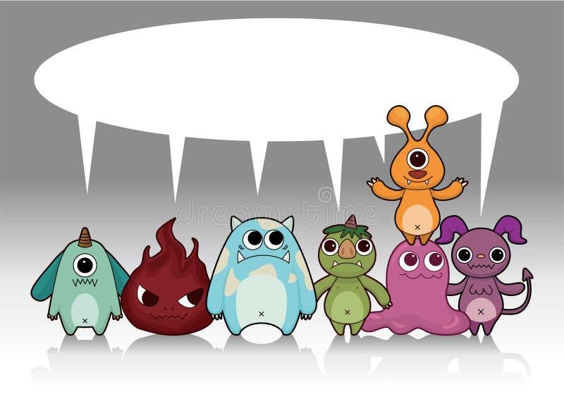 Cartão do monstro dos desenhos animados ilustração do vetor