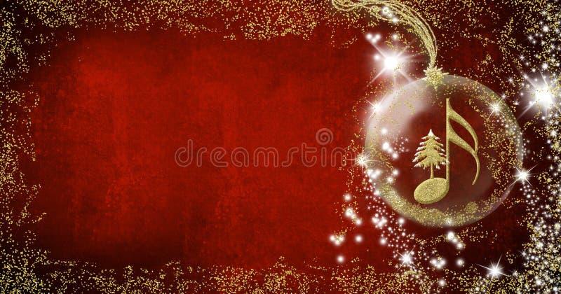 Cartão do musical do Natal Gl dourado da árvore de Semiquaver e de Natal ilustração stock