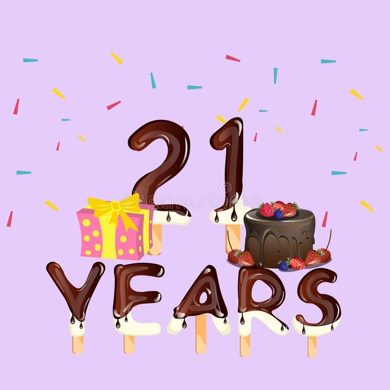 Cartão do número 21 do feliz aniversario ilustração do vetor