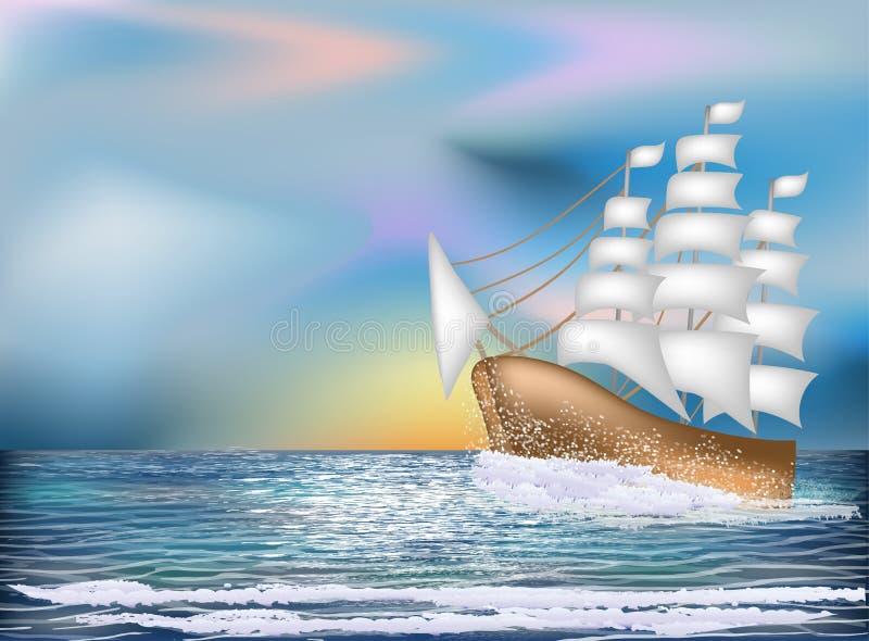 Cartão do nascer do sol com embarcação de navigação, vetor ilustração do vetor