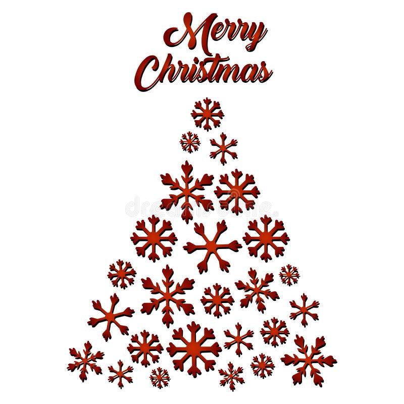 Cartão do Natal com árvore de Natal Flocos de neve Ilustração do vetor da árvore de Natal abstrata no branco ilustração do vetor