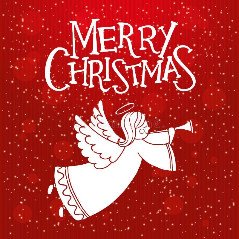 Cartão do Natal com anjo bonito e flauta do voo ilustração stock
