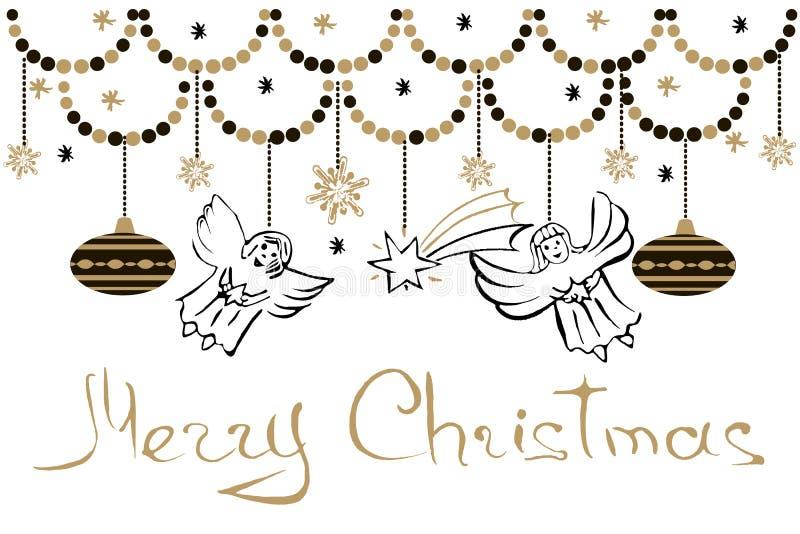 Cartão do Natal com anjos, estrelas, flocos de neve e Chris ilustração stock