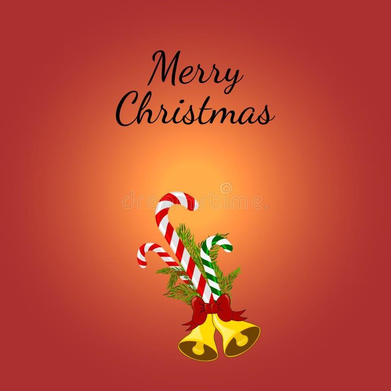 Cartão do Natal com bastões de doces ilustração stock