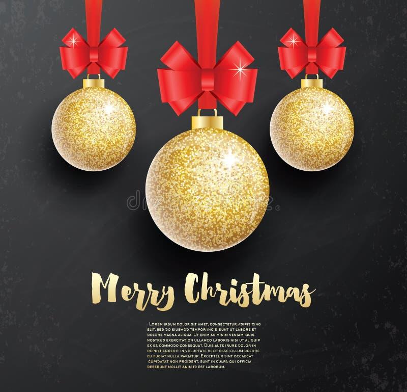 Cartão do Natal com a bola do Natal do brilho e R dourados ilustração royalty free