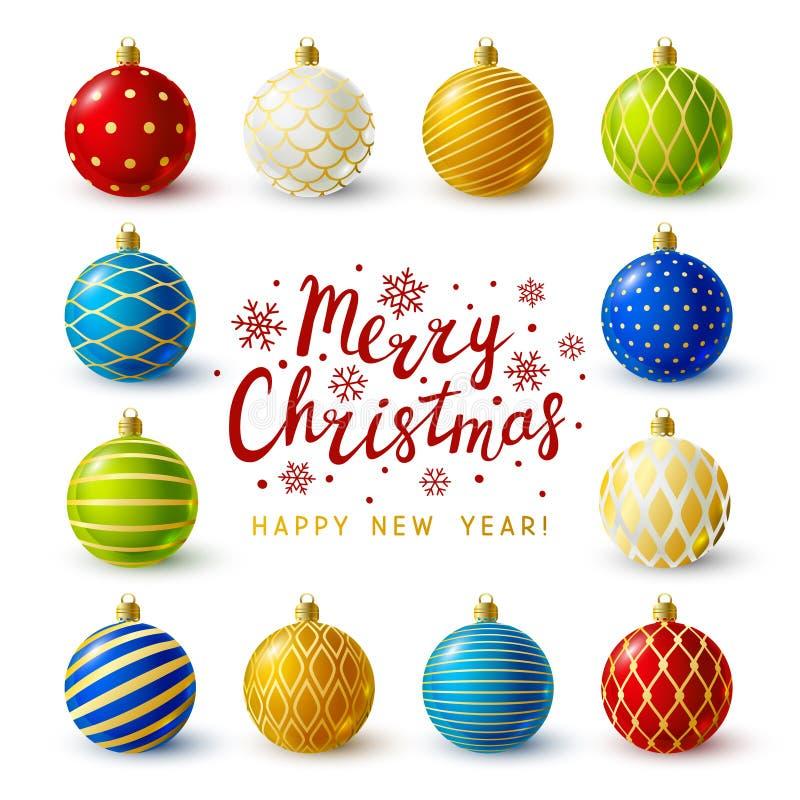 Cartão do Natal com bolas do Xmas ilustração stock