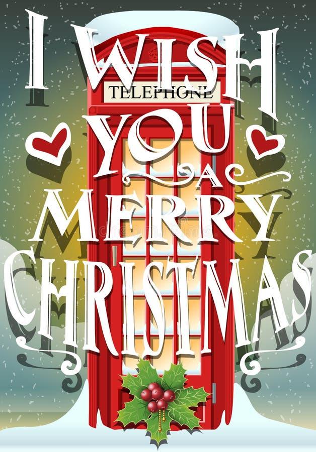 Cartão do Natal com a cabine vermelha inglesa ilustração royalty free