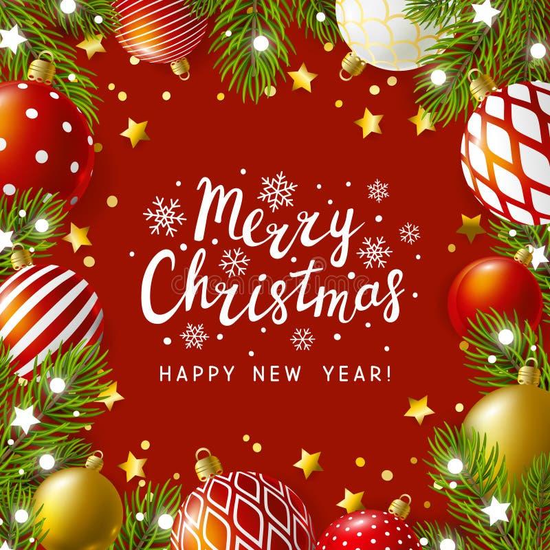 Cartão do Natal com decoração do feriado ilustração do vetor