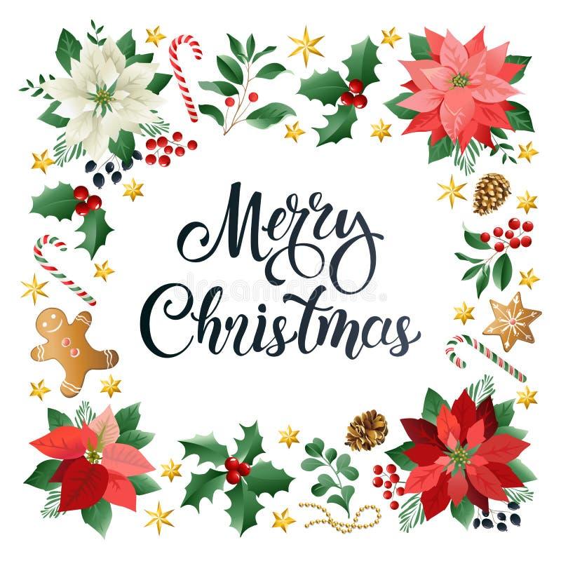 Cartão do Natal com desejos da estação e composição caligráficos de elementos festivos tais como cookies, doces, bagas, ilustração do vetor