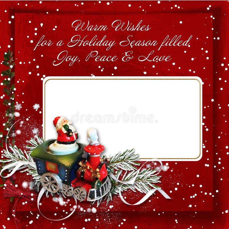 Cartão do Natal com desejos mornos ilustração stock