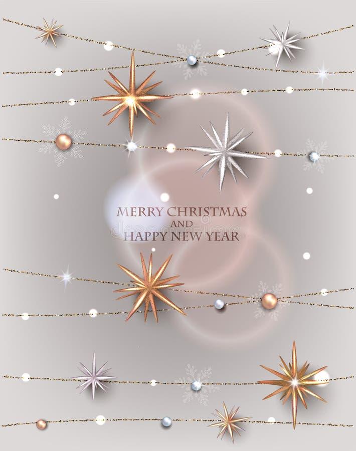 Cartão do Natal com estrelas efervescentes e grânulos ilustração royalty free