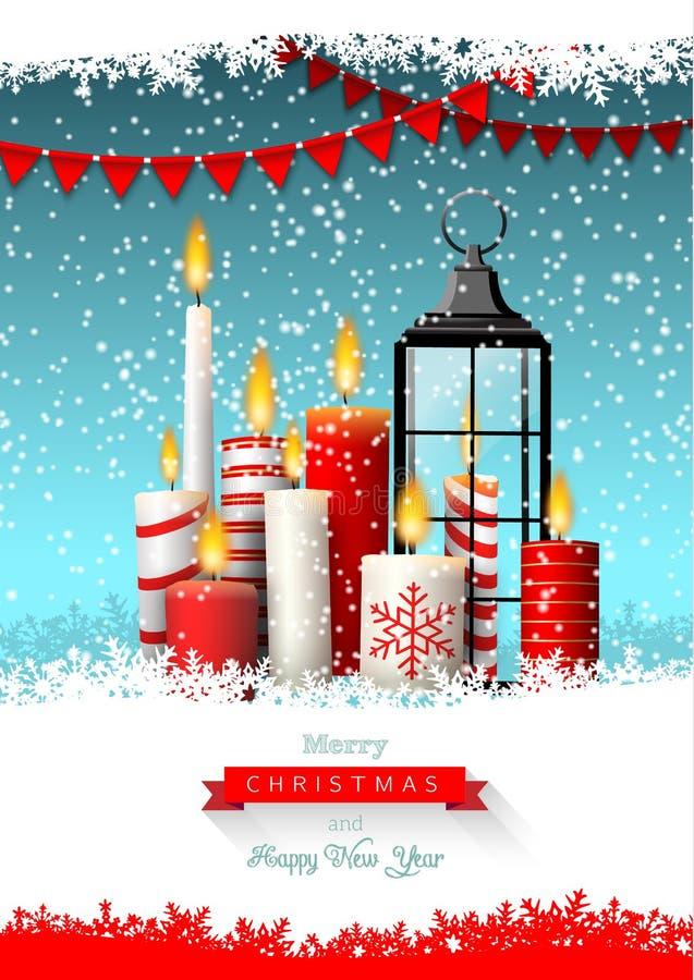 Cartão do Natal com grupo de velas ilustração do vetor