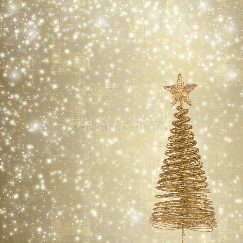 Cartão do Natal com o abeto do metal do ouro fotos de stock