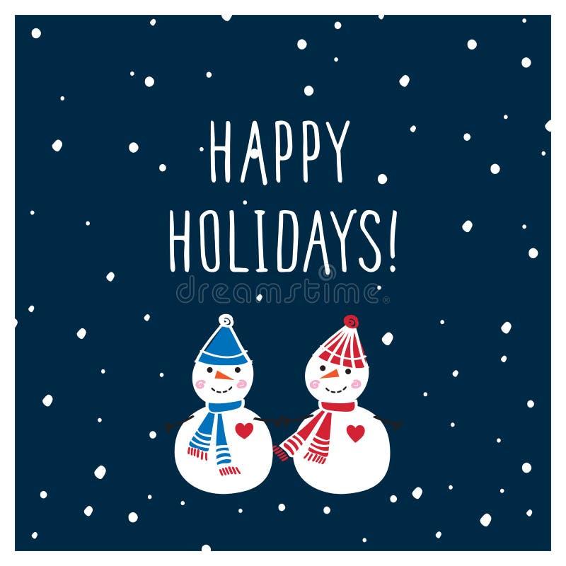 Cartão do Natal com os bonecos de neve bonitos tirados mão Boas festas ilustração do vetor