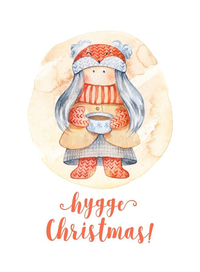 Cartão do Natal com personagem de banda desenhada bonito - gir pequeno ilustração royalty free