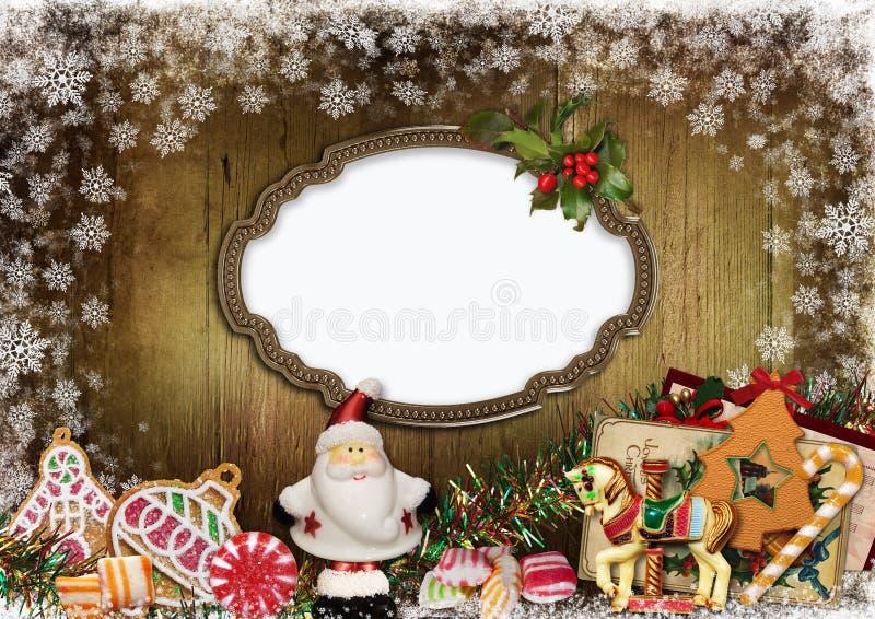 Cartão do Natal com quadro, Santa Claus, cookies, doces e decoração do Natal ilustração royalty free
