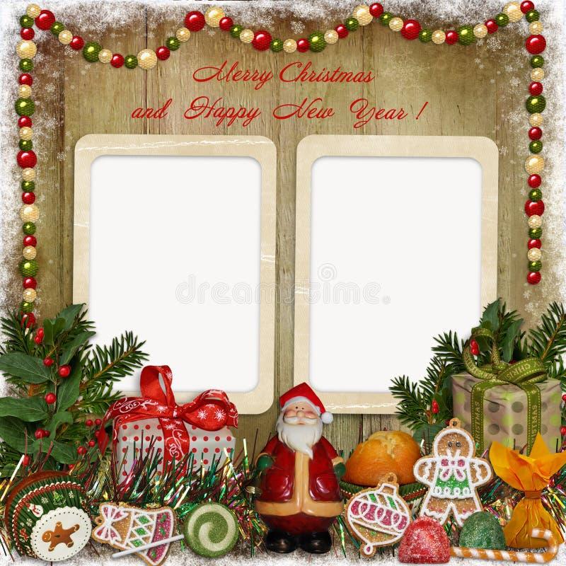 Cartão do Natal com quadro, Santa, presentes e doces ilustração stock