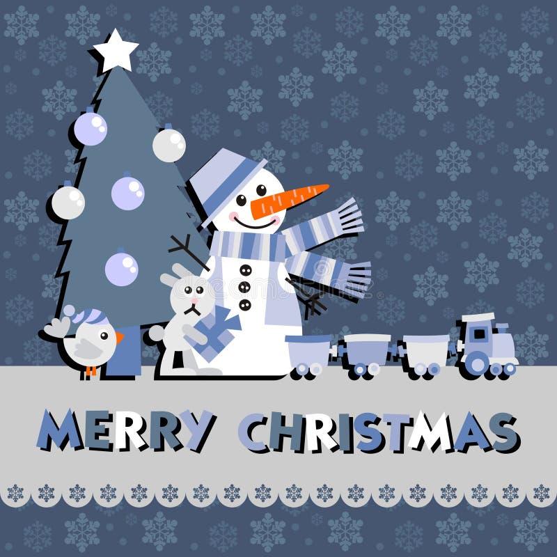 Cartão do Natal com um boneco de neve ilustração do vetor
