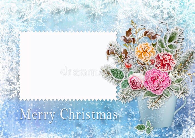 Cartão do Natal com um ramalhete das flores e ramos com geada ilustração stock