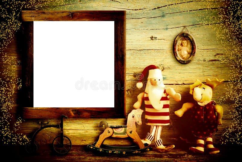 Cartão do Natal da casa de Santa Claus imagens de stock
