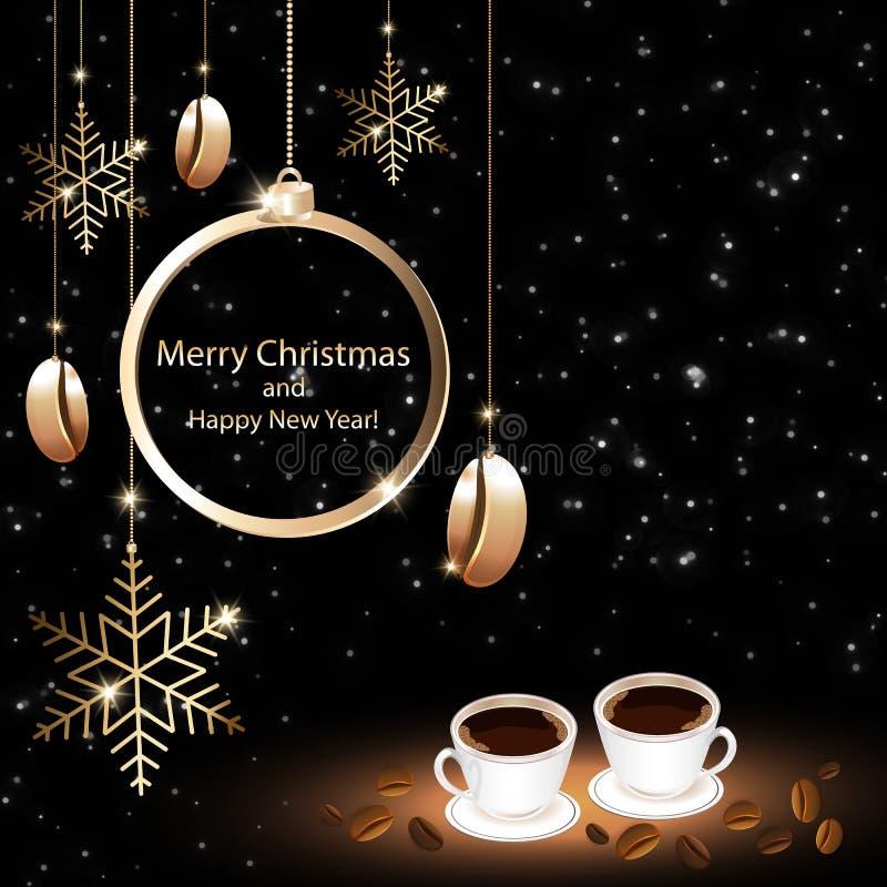 Cartão do Natal das casas do café ilustração royalty free
