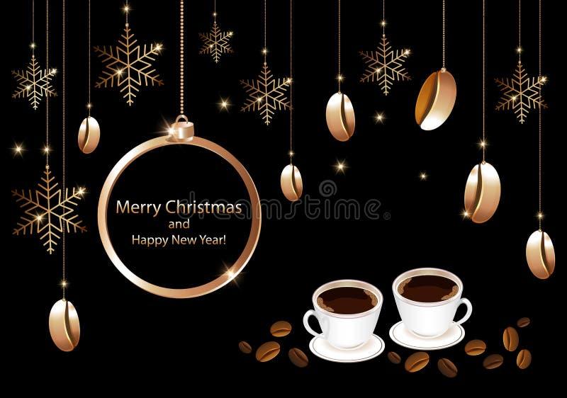 Cartão do Natal das casas do café ilustração stock