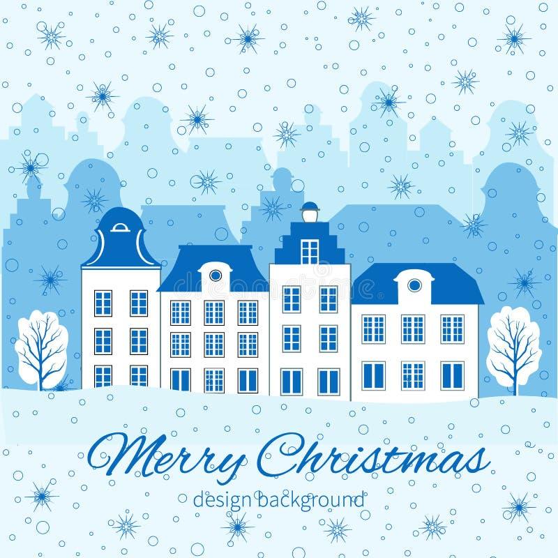 Cartão do Natal, do ano novo com construção europeia colorida, floco de neve, árvore e espaço para seu texto, inverno ilustração do vetor