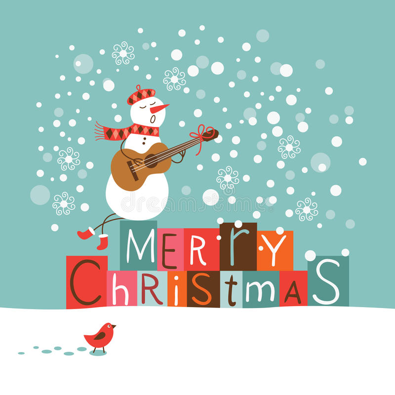 Cartão do Natal do cumprimento e do ano novo ilustração stock