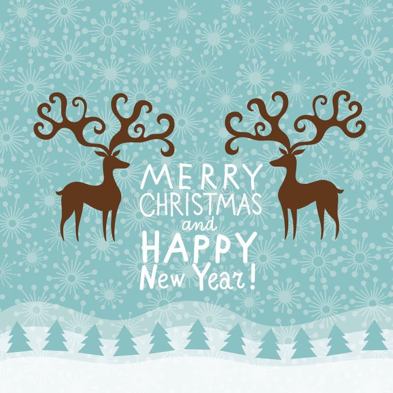 Cartão do Natal do cumprimento e do ano novo ilustração do vetor